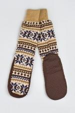 Домашние носки Снежинка, коричневые