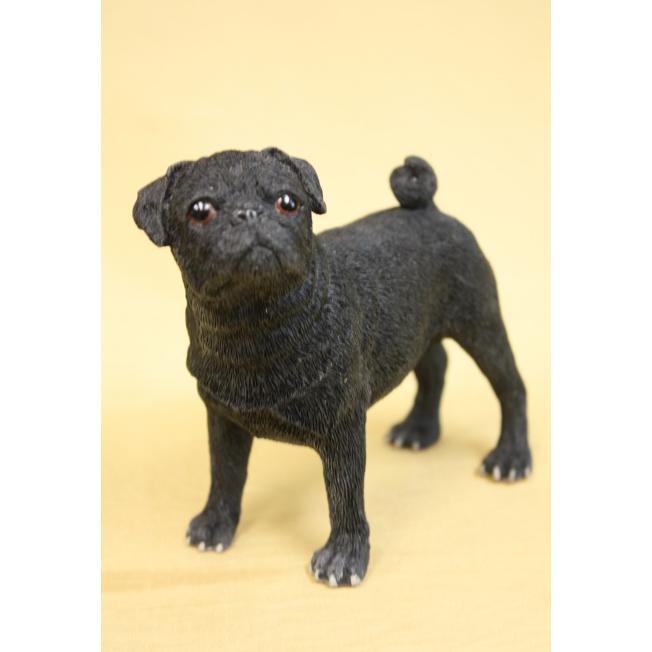 Скульптура собаки порода «Мопс черный»