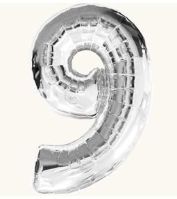 Цифра 9, серебряная