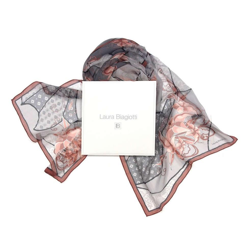 Фирменный женский шарф в серых оттенках Laura Biagiotti
