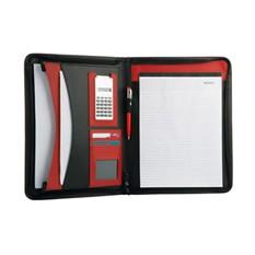 Папка для документов с блокнотом и калькулятором, красная