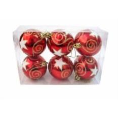 Матовые новогодние шарики Красные звезды