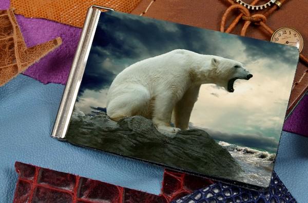 Зажим для денег с принтомБелый медведь