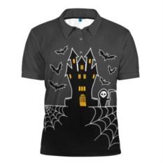 Мужская рубашка-поло Хэллоуин. Замок