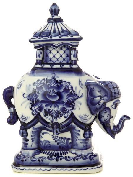 Фарфоровая чайница Слон с росписью Гжель