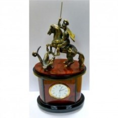 Настольные часы Георгий Победоносец из яшмы и бронзы