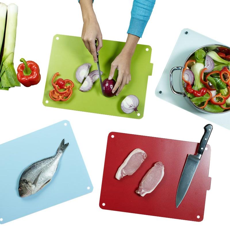 Набор гибких разделочных досок со стеклянной базой Food Station™, разноцветный