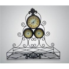 Настенные часы с термометром, гидрометром и полкой