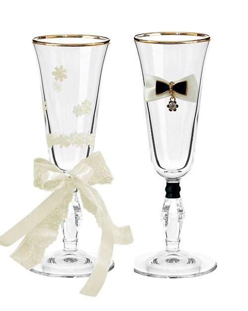 Набор свадебных бокалов Ретро №10 в картонной коробке
