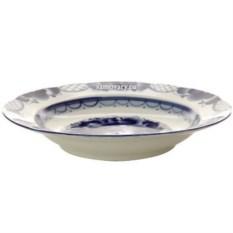 Суповая керамическая тарелка с росписью гжель Дубок