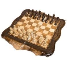 Резные шахматы и нарды Арарат с бронзой