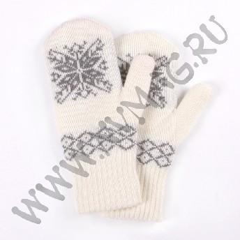 Варежки со снежинкой, серый узор