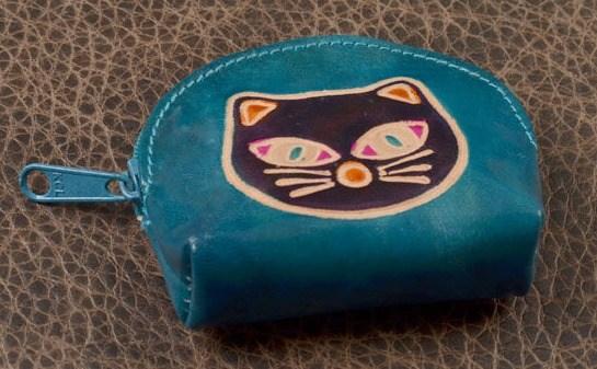 Монетница Socotra (Голубой, фиолетовый; кот; тип 1; кожа)