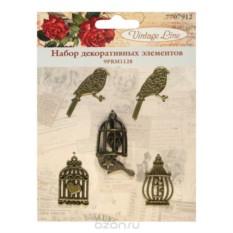 Набор декоративных элементов Vintage Line Птицы, 5 шт.