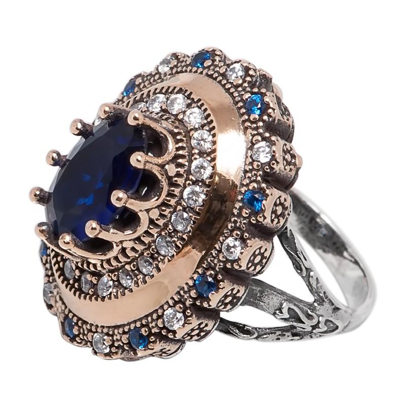 Перстень с цирконамии и кианитами