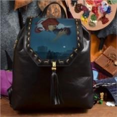 Женский кожаный рюкзак ручной работы Любовь над городом