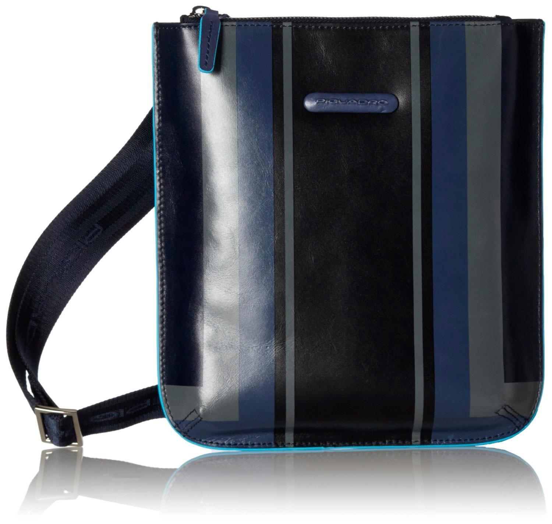 Синяя мужская сумка с плечевым ремнем Piquadro Blue Square