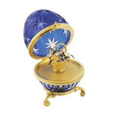 Яйцо Корзина синее, с синим цветами