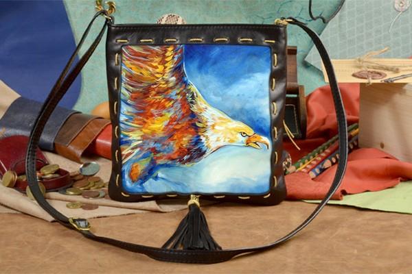 Женская сумка-планшет с принтом Разноцветный орел
