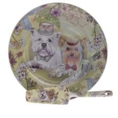 Тарелка с лопаткой Собачки в шляпах