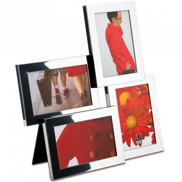 Рамка для фотографий Lira на 4 фото 10х15 см хром