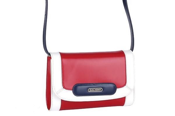 Красно-белая кожаная сумка Galaday