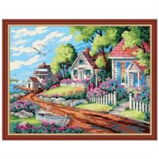 Картина-раскраска по номерам на холсте Деревушка