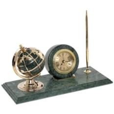 Настольные часы с ручкой и глобусом на мраморной подставке