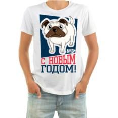Мужская футболка с собакой С новым годом