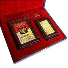 Мужской подарочный набор «Паспорт, визитница, флешка»