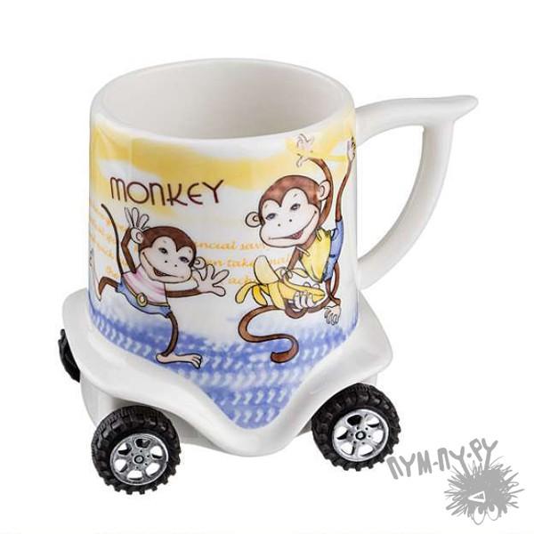 Кружка на колесиках Озорные обезьянки