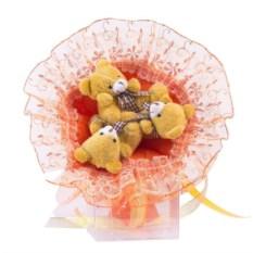 Букет с медвежатами Зефирки оранжевого цвета