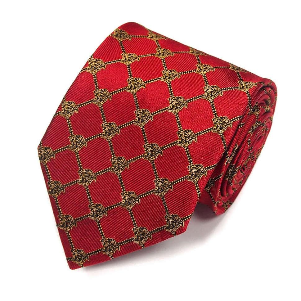 Красный галстук с золотистыми горгонами Versace