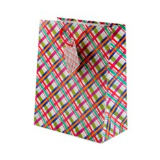 Бумажный ламинированный подарочный пакет в клетку