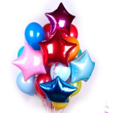 Букет из 120 шаров Разноцветные шары со звездами