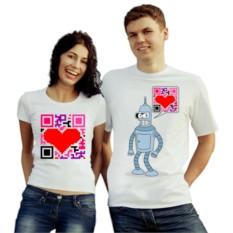 Парные футболки QR код, Бэндер