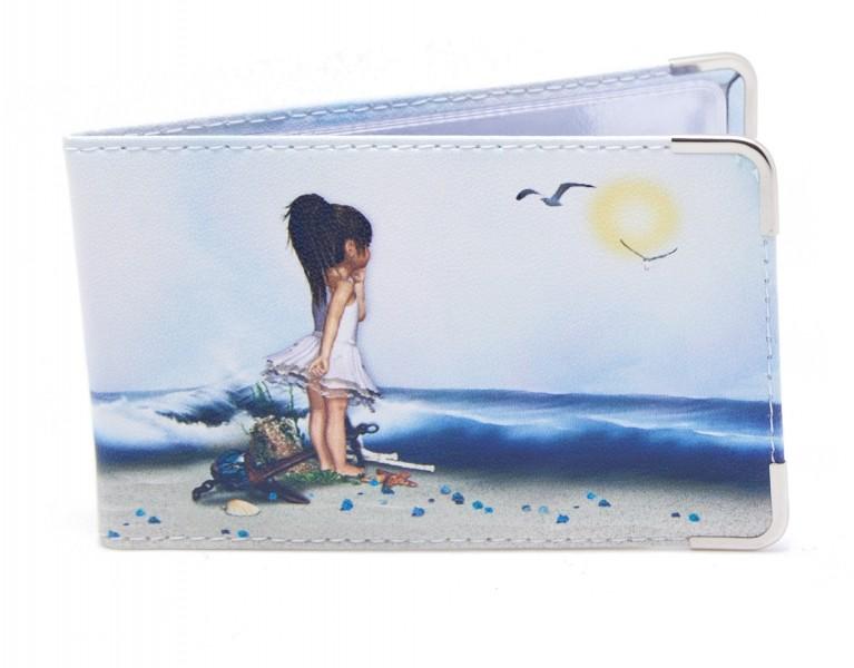 Кожаная визитница Девочка у моря