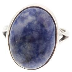 Кольцо из мельхиора в посеребрении с содалитом Дарсия