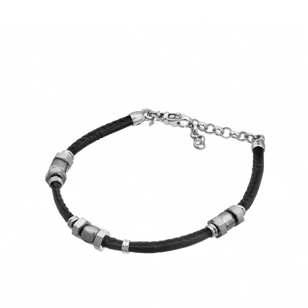 Кожаный браслет универсального размера с серебром