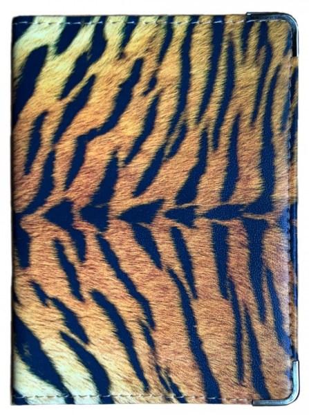 Кожаная обложка для паспорта Тигриный узор
