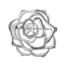 Серебряная брошь в виде розы