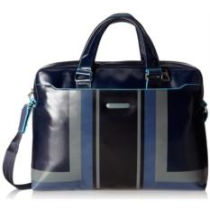 Кожаная синяя сумка для ноутбука Piquadro Blue Square