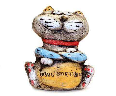 Кот «Весельчак». Глиняная игрушка ручной работы