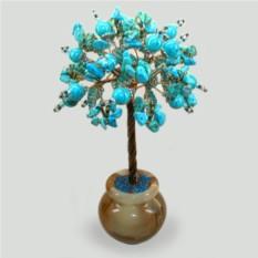 Миро дерево из бирюзы в вазочке из оникса