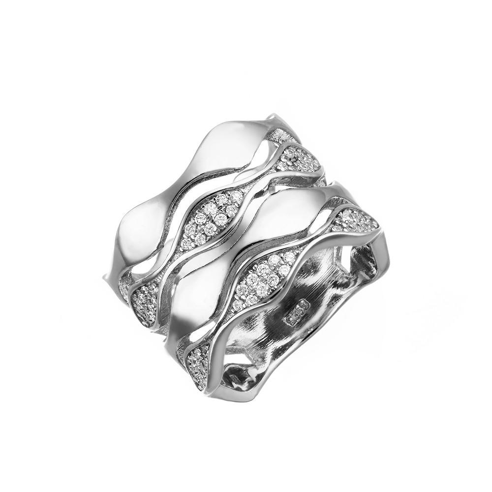 Кольцо с волнистыми полосами инкрустированными фианитами