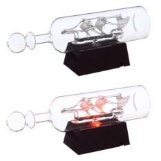 Модель корабля в бутылке со светодиодом Три паруса