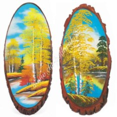 Вертикальное панно на срезе дерева Осень 80-85 см