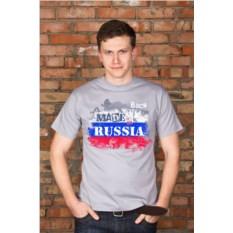Серая мужская именная футболка Патриот