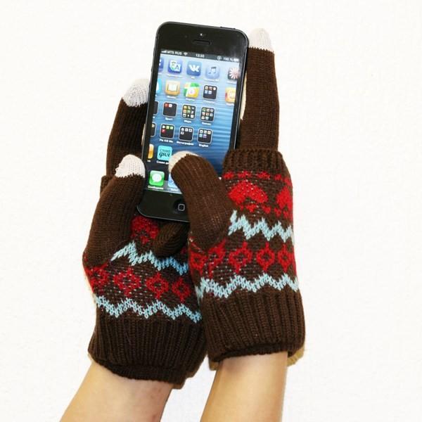 Дизайнерские перчатки для iPhone, с митенками, коричневые