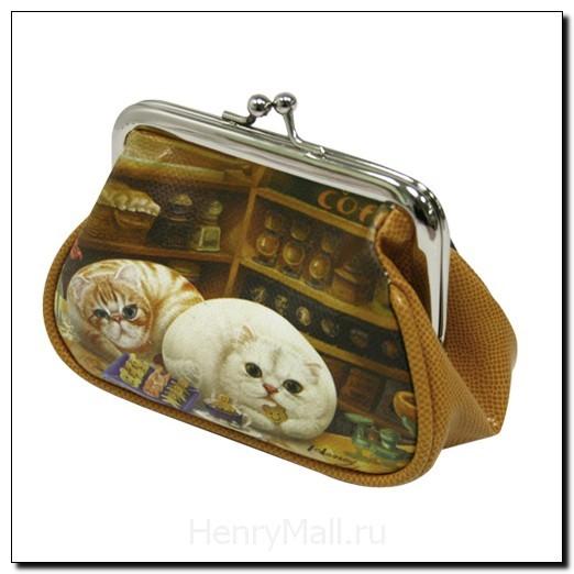 Кошелек женский с котиками «Кафе Генри»